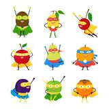Cartoon Vegetables Superhero Characters Icon Set. Vector. Cartoon Vegetables Superhero Characters Icon Set Vegetarian Superpower Concept Element Flat Design Royalty Free Stock Photo