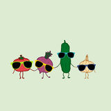 Cartoon vegetables: tomato, cucumber, radish and garlic Royalty Free Stock Images