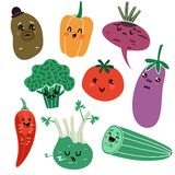 Cartoon vegetables. Vegan healthy meal organic food delicious fresh child vegetable faces vector isolated characters stock illustration