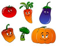 Cartoon vegetables on a white background. Cheerful carrots, pumpkin, pepper, eggplant and broccoli on a white background Stock Photos