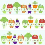 Cartoon vegetables with words organic, natural Royalty Free Stock Images