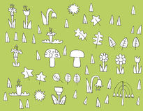 Cartoon Vegetation Collection in black and white Royalty Free Stock Images