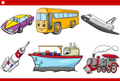 Cartoon vehicle caracters set Royalty Free Stock Image