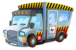 Cartoon vehicle - caricature - electricity car - isolated Stock Photo