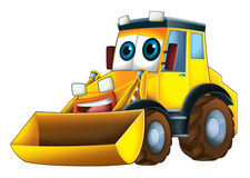 Cartoon vehicle - excavator - caricature Stock Image