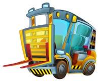 Cartoon vehicle - forklift - caricature Stock Image
