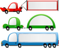 Cartoon vehicles banner set Stock Photo