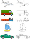 Cartoon vehicles coloring (1/2) Stock Photos