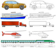 Cartoon vehicles coloring (2/2) Royalty Free Stock Photo