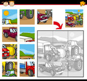 Cartoon vehicles jigsaw puzzle game. Cartoon Illustration of Education Jigsaw Puzzle Game for Preschool Children with Cars and Land Vehicles Characters Group Royalty Free Stock Image
