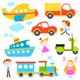 Cartoon vehicles and kids Royalty Free Stock Photo