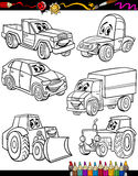 Cartoon vehicles set for coloring book stock illustration