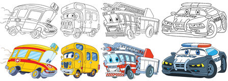 Cartoon vehicles set. Cartoon transport set. Collection of vehicles. Ambulance, school bus, fire truck, police car. Coloring book pages for kids Stock Photos