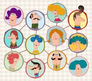 Cartoon version of social network. Colorful graphic illustration for children Royalty Free Stock Images