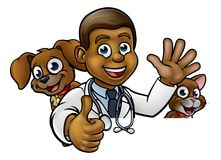 Vet Cartoon Character Pointing Sign. A cartoon vet character with pet cat and dog animals above sign pointing Royalty Free Stock Photos