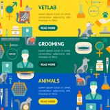 Cartoon Veterinary and Grooming Banner Horizontal Set . Vector. Cartoon Veterinary and Grooming Banner Horizontal Set Concept Flat Design Style Include of vector illustration