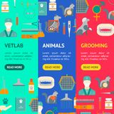 Cartoon Veterinary and Grooming Banner Vecrtical Set. Vector. Cartoon Veterinary and Grooming Banner Vecrtical Set Concept Flat Design Style Include of Service stock illustration