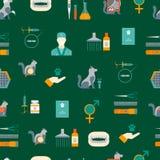 Cartoon Veterinary and Grooming Seamless Pattern Background. Vector. Cartoon Veterinary and Grooming Seamless Pattern Background Concept Flat Design Style vector illustration