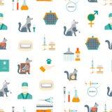 Cartoon Veterinary and Grooming Seamless Pattern Background. Vector. Cartoon Veterinary and Grooming Seamless Pattern Background on a White Concept Flat Design royalty free illustration