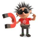 Cartoon vicious punk rocker demonstrates magnetism, 3d illustration. Render vector illustration