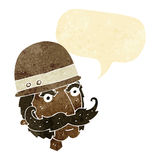 Cartoon victorian big game hunter with speech bubble Royalty Free Stock Photos