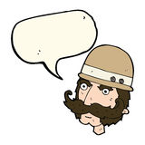 Cartoon victorian big game hunter with speech bubble Royalty Free Stock Image
