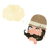 Cartoon victorian big game hunter with thought bubble Royalty Free Stock Images