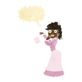 Cartoon victorian woman dropping handkerchief with speech bubble Royalty Free Stock Images