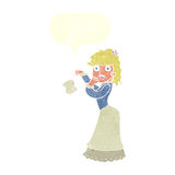 Cartoon victorian woman dropping handkerchief with speech bubble Stock Photos