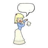 Cartoon victorian woman dropping handkerchief with speech bubble Stock Photography