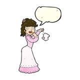 Cartoon victorian woman dropping handkerchief with speech bubble Royalty Free Stock Photos