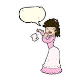 Cartoon victorian woman dropping handkerchief with speech bubble Stock Photography