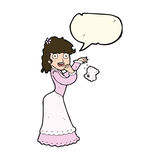 Cartoon victorian woman dropping handkerchief with speech bubble Royalty Free Stock Photo