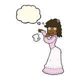 Cartoon victorian woman dropping handkerchief with thought bubbl Stock Photography