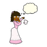 Cartoon victorian woman dropping handkerchief with thought bubbl Stock Photo