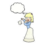 Cartoon victorian woman dropping handkerchief with thought bubbl Royalty Free Stock Images