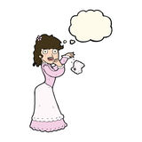 Cartoon victorian woman dropping handkerchief with thought bubbl Royalty Free Stock Photos