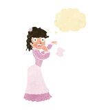 Cartoon victorian woman dropping handkerchief with thought bubbl Royalty Free Stock Photography