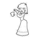Cartoon victorian woman dropping hankerchief Stock Image