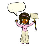 Cartoon Victorian woman protesting with speech bubble Stock Images