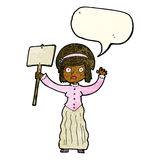 Cartoon Victorian woman protesting with speech bubble Royalty Free Stock Images