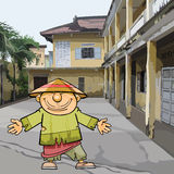 Cartoon Vietnamese man in ragged clothes and a hat Stock Images