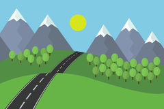 Cartoon view of the asphalt road leading landscape with grass and trees in the mountains with snow under blue sky with sun.  Royalty Free Stock Photos