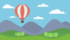 Cartoon view mountain landscape with a red hot air balloon flyin stock illustration