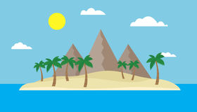 Cartoon view of a tropical island in the middle of an ocean or sea with a sandy beach, palm trees and mountains under a blue sky w Stock Photo