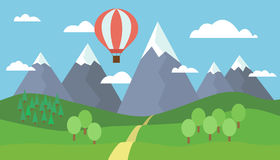 Cartoon view on the way to mountain landscape with a red hot air balloon flying in the hills with trees and snow on the peaks unde Royalty Free Stock Images