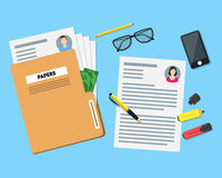 Cartoon View of Working Place witch Papers Folder. Vector Stock Images