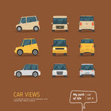 Cartoon views car set Stock Photography