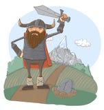Cartoon viking. Viking - cartoon illustration, sketch Stock Photos