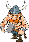 Cartoon viking with a big hammer Stock Images